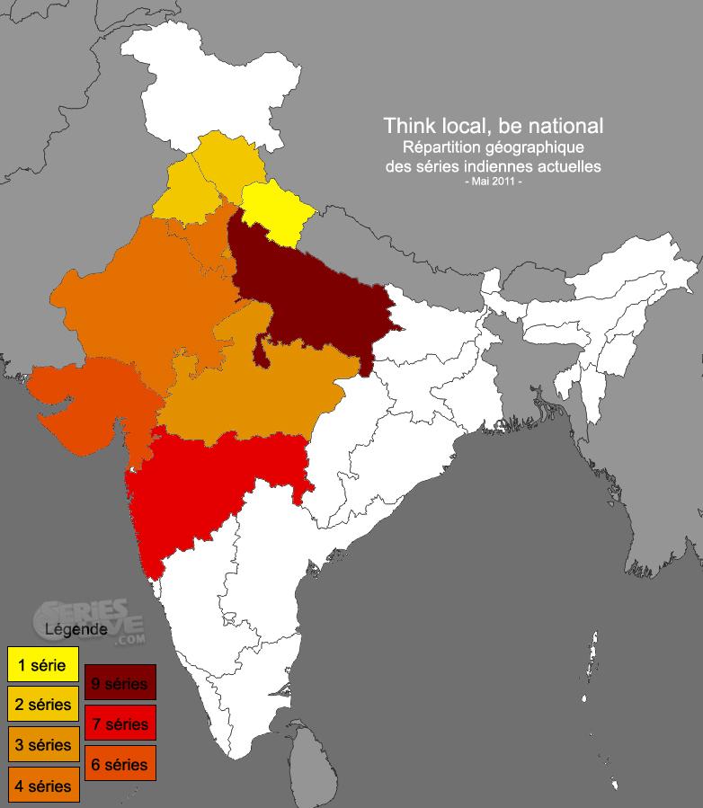Répartition géographique des séries indiennes actuelles - Mai 2011 [Cliquez pour agrandir]